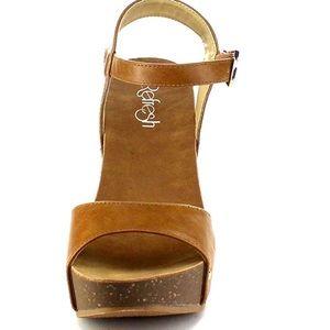Refresh Womens Ankle Strap Platform Wedge SZ 9